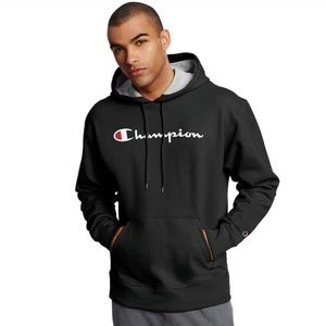 Men's Champion Pullover Hoodie • Black • X-Large